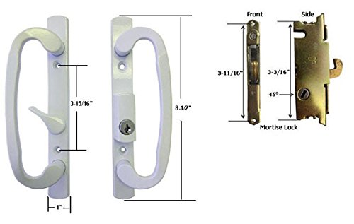 Sliding Glass Patio Door Handle Set with Mortise Lock, White, Keyed, 3-15/16 Screw Holes by (Patio Sliding Door Handles)