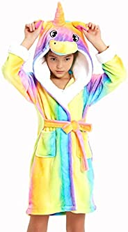 XmasPJS Girls Boys Robe Cotton Towel Animal Unicorn Hooded Bathrobe