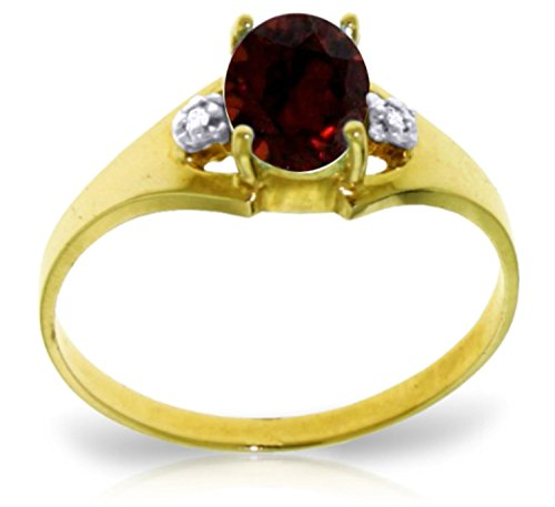Galaxy Gold 0.76 Carat 14k Solid Gold Ring with Genuine Diamonds and Natural Oval-shaped Garnet - Size 6.5