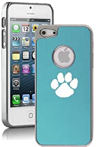Apple iPhone 4 4s Aluminum Plated Chrome Hard Back Case Cover Paw Print (Light Blue)