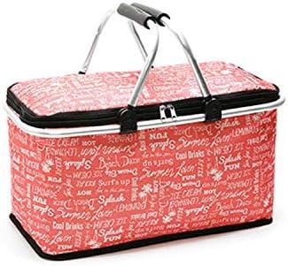 大容量キャンプランチバッグ屋外ポータブル断熱クーラー収納ピクニックバスケット折りたたみバスケット、赤英字