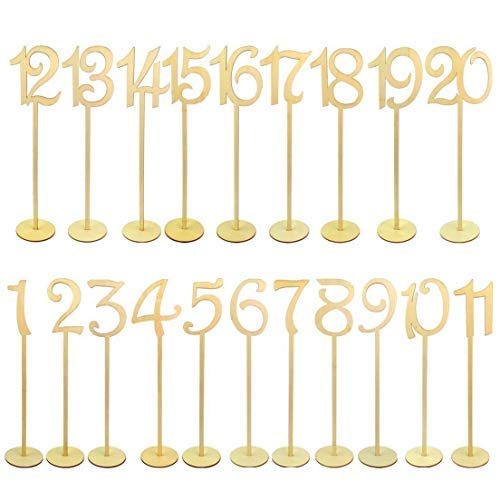 goldblue 1-20 Wooden Table Numbers with Holder Base for Wedding or Home Decoration -