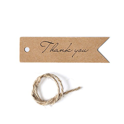 Funny Christmas Gift Tags (Ling's moment 100 PCS Kraft Paper Gift Tags Bonbonniere Favor Rectangular Hang Tags with Free Natural Jute Twine,2.75