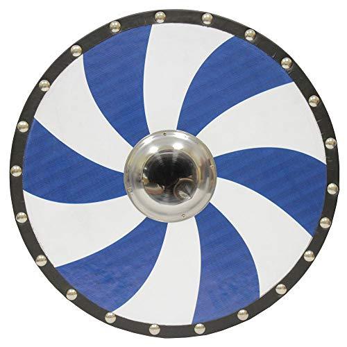 (Swordsaxe Medieval Norse Historical Wooden Blue Spiral Viking Round Shield LARP )