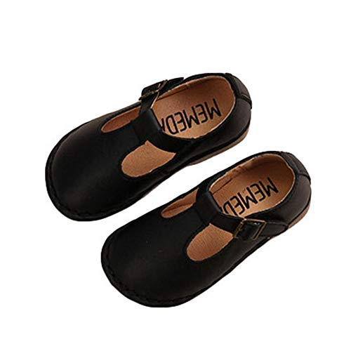 F-OXMY Toddler Girls Retro Oxfords T-Strap Dress Shoes Comfort Soft Non-Slip Mary Jane Ballet Flat Shoes Black ()