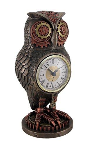 Veronese Resin Mantel Clocks Bronze/Copper Finish Steampunk Owl Mantel Clock 5 X 10.5 X 5 Inches Copper by Veronese