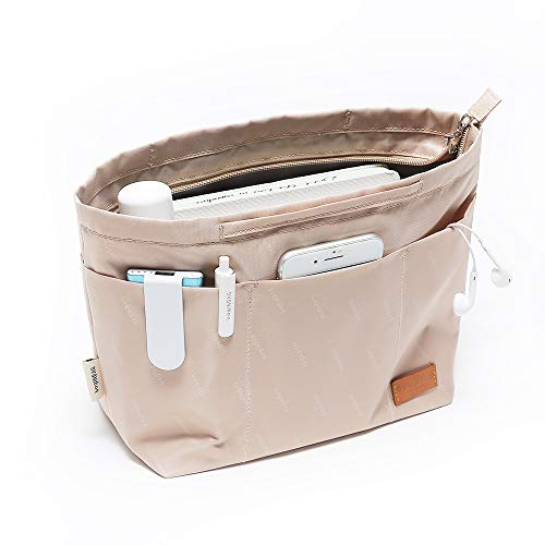 iN. Purse Organizer Insert with zipper, Nylon fabric Storage Bag with handles, for womens Handbags & Tote bags, neverfull, lightweight small sized Beige