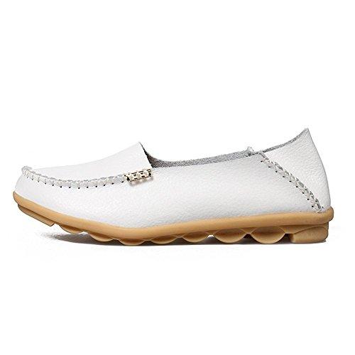 Legit Kvinna Läder Körning Skor Loafers Båt Skor 8b (m) Oss White