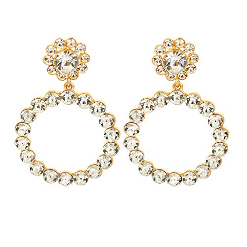 Clearance! Hot Sale! Women Exaggerated Flower-Shaped Hollow Simple Geometric Diamond-Studded Earrings Fashion Jewelry for Women Girls Under 5 Dollars