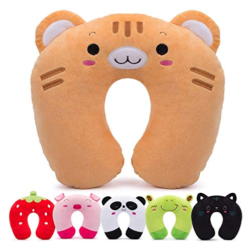 HOMEWINS Travel Pillow for Kids Toddlers - Soft Neck Head Chin Support Pillow, Cute Animal, Comfortable in Any Sitting Position for Airplane, Car, Train, Machine Washable, Children Gifts (Tiger)