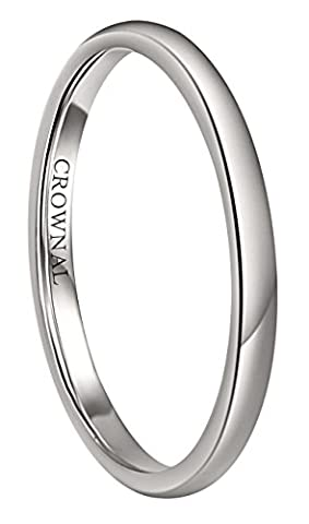 Crownal 6mm/5mm/4mm/3mm/2mm White Tungsten Carbide Polished Classic Dome Wedding Ring All Sizes (2mm, (His And Her Rings Tungsten)