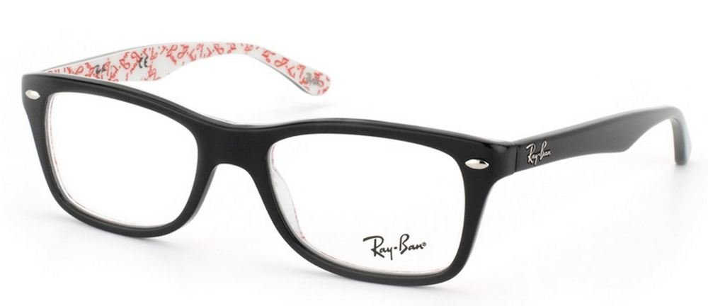 Ray-Ban Women's Rx5228 Square Eyeglasses,Top Black & Texture White,50 mm by Ray-Ban (Image #1)