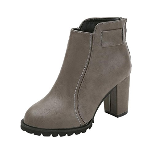 LuckyBB Women's Fashion Casual Outdoor Ankle Boots Gray enVB0