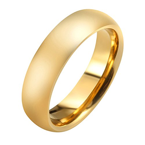 Elegant Domed Shape (JOVIVI 4mm/6mm Gold Plated-tone Domed High Polished Plain Tungsten Wedding Bands Couples Band Ring for Men&women)