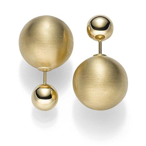 Boucles d'oreilles avec boule mat 7,5mm & 16mm Boucles d'oreilles en or jaune 585