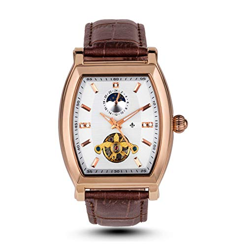 RALPH CHRISTIAN Men's Luxury Wrist Watch Rose Gold & Leather Automatic- Lyon Tonneau Case - Self-Winding Movement, Analog Dial, Water Resistant with Lunar Dial & Tourbillon Inspired - Case Watch Tonneau