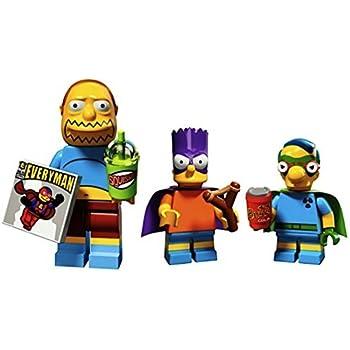 Comic Book Guy, Bart As Bartman, Milhouse As Fallout Boy: Lego Simpsons Collectible Minifigures Series 2 Custom Bundle 71009