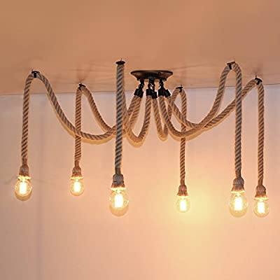 6 Heads American Country Retro Industrial Hemp Rope Chandelier Living Room Restaurant pendant lights light Fixture Not Included Bulb