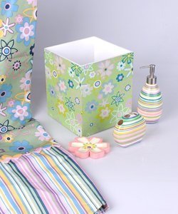 Kristen pastel striped floral bath set for Striped bathroom accessories sets