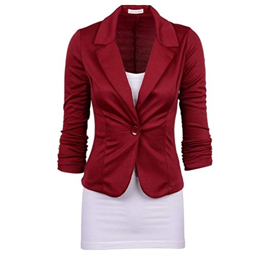 Longues De Costume Fit Manteau lgant WineRed Veste Office Slim Outerwear Blazer Revers Manches Costume Mode avec Chic Button Affaires Printemps Automne Unicolore Size L Femme Color q6wH7P1x