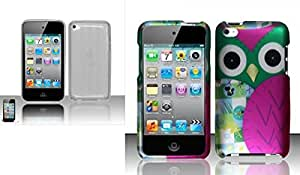 Combo pack For iPod Touch 4 - TPU Cover Case w/ Argyle Pattern - Clear And For iPod Touch 4 Rubberized Design Cover - Owl