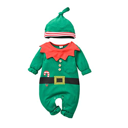 Infant Christmas Costumes (Baby-Christmas-Elf-Outfit-Onesies Jumsuit for Toddler Boys Girls Christmas Costume Pajamas Clothes (Green,)