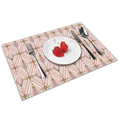 Luase Blush Diamonds Table Placemats for Dining Table,Washable Placemat Heat-Resistant Set of 6(12X18 inch)