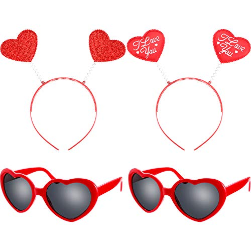 Bememo 4 Pieces Valentine's Day Red Heart Headbopper Glitter Heart Headband and Heart Sunglasses for Girls ()