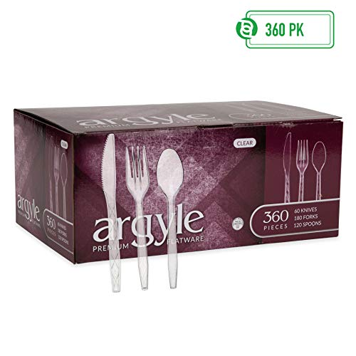 (Clear Plastic Cutlery | Heavy Duty & Solid Disposable Silverware Utensils Set | Perfect for Weddings, Buffets, Luncheon & More | 180 Forks, 120 Spoons & 60 Knives Combo Pack | 360 Count)
