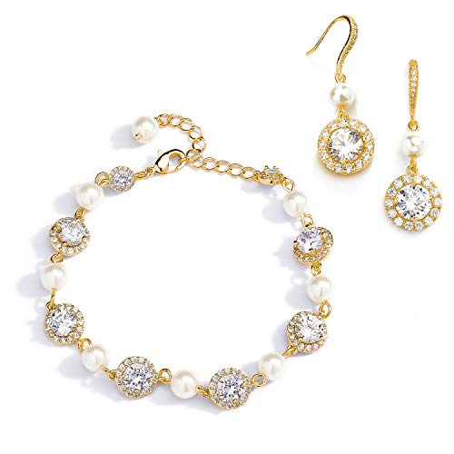 (Mariell 14K Gold & Pearl Round CZ Bridal Bracelet & Earrings Set - Wedding Jewelry Sets for Bridesmaids)