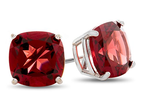 Finejewelers 7x7mm Cushion Garnet Post-With-Friction-Back Stud Earrings 14 kt White Gold