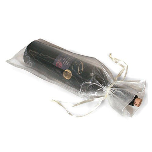 Pixnor 10 x Sheer Organza Wine Bottle Gift Bags for Present Weddings Party