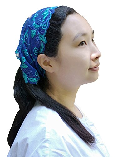 Soft Headwrap Lace Kerchief Tie-style Head Covering Church Veil Y030 (Royal blue) by Sevenflowers