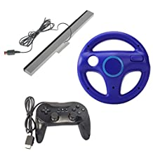 MonkeyJack Pro Classic Controller Pad Console Joypad w/Steering Wheel For Nintendo Wii