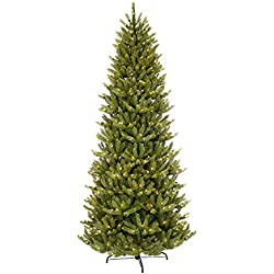 Puleo International 12-Foot Pre-Lit Slim Fraser Fir Tree with 1200 UL Clear Lights Artificial Christmas