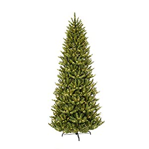 Puleo International 4.5-Foot Pre-Lit White Fraser Fir Pencil Tree, 401 Tips, 150 UL Clear Lights, Hinged, Metal Stand Artificial Christmas 24