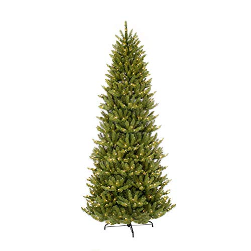 Puleo International 9 Foot Pre-Lit Slim Fraser Fir Artificial Christmas Tree with 800 UL Listed Clear Lights, Green (Christmas Tall Trees Artificial Thin)