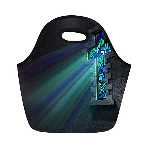 Semtomn Lunch Tote Bag Blue and Green Patterned Stain Glass Window in the Reusable Neoprene Insulated Thermal Outdoor Picnic Lunchbox for Men Women