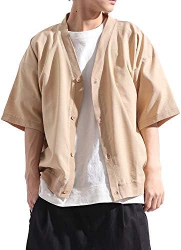 ポリシャンブレー ビッグ カーディガン ドルマン スリーブ 半袖 ワイド ストリートモード 夏 メンズ