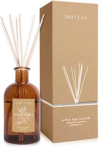 Reed Diffuser Sticks - Jasmine & Lilly Diffuser Reeds Scented Sticks Gift Set Apartment Essentials Soothing & Relaxing Aromatic Diffusers for Essential Oils for Bedroom Living Room Office