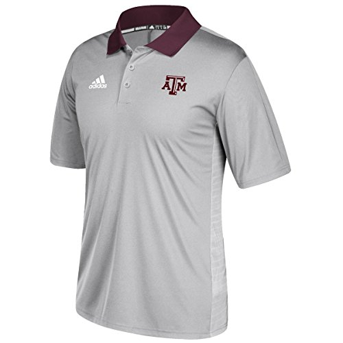 Texas A&M Aggies Adidas NCAA 2017 Sideline Coaches Polo Shirt - Gray (Shirt Sideline Adidas Polo)