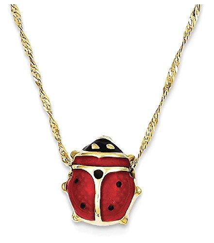 Yellow Enameled Ladybug (ICE CARATS 14k Yellow Gold Enameled Ladybug Chain Necklace Animals/insect Fine Jewelry Gift Set For Women Heart)
