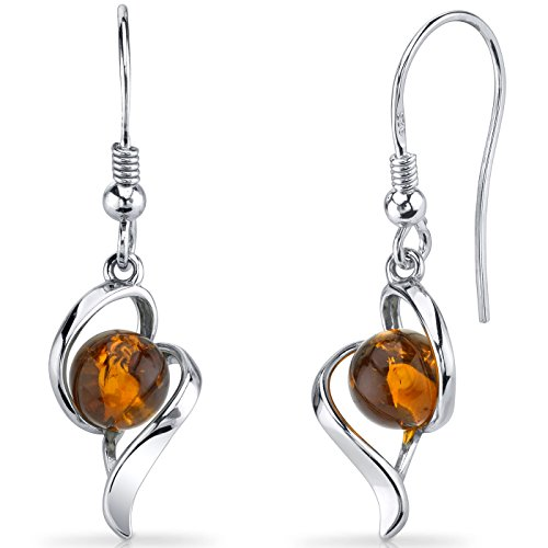 Baltic Amber Open Spiral Earrings Sterling Silver Cognac Color