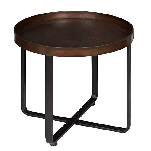 Bronze Round End Table - Kate and Laurel Zabel Modern Round Metal End Table with Criss Cross Base Bronze and Black 22