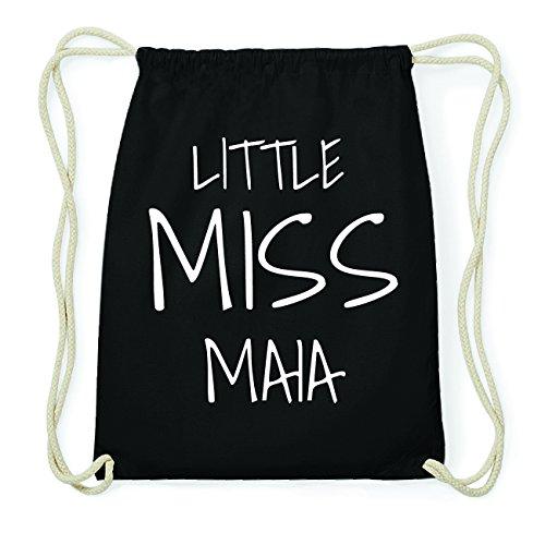 JOllify MAIA Hipster Turnbeutel Tasche Rucksack aus Baumwolle - Farbe: schwarz Design: Little Miss
