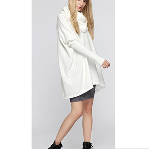 Pull Manches Manteau Loose Tricot Sweatshirt Cardigan Casual Longues Femme Over Pull Blanc Semen xYw0BXPWF