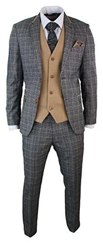 Marc Darcy Mens Grey Check Herringbone Tweed Vintage 3 Piece Tailored Fit Suit Oak Brown grey-oak 34