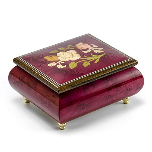 Radiant Red Wine Music Jewelry Box with a Floral Wood Inlay Design - ()