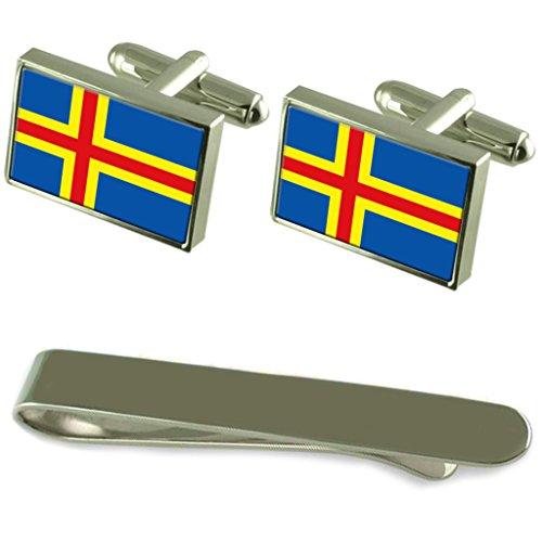 Drapeau des îles Åland de manchette en argent gravé Cravate Cadeau