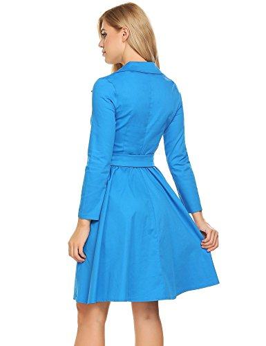 Manches Longues Vintage Femmes Acevog Cocktail Balançoire Plissée Robe De Soirée Un Bleu Avec Ceinture
